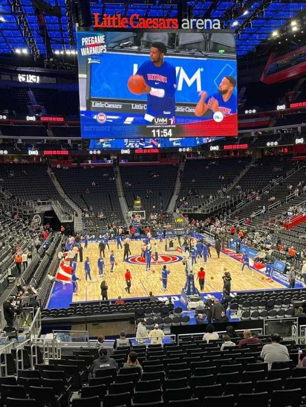 Little Caesars Arena, vak: 103, rij: 18, stoel: 14