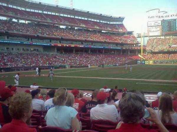 Great American Ball Park, vak: 130, rij: K, stoel: 7