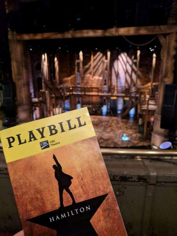 CIBC Theatre, vak: mezzrc, rij: b, stoel: 314