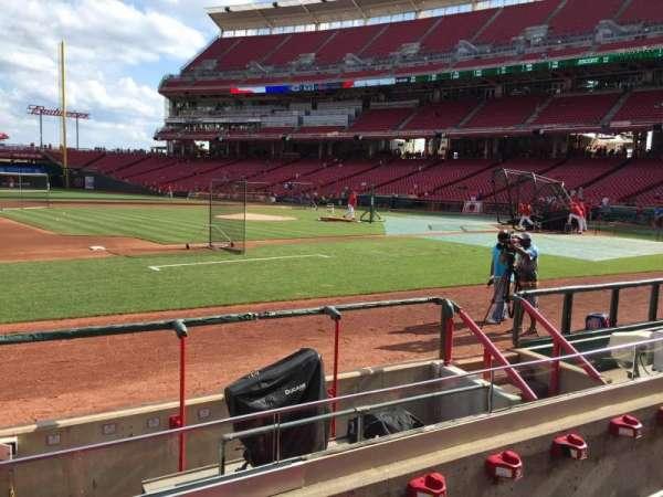 Great American Ball Park, vak: 115, rij: H, stoel: 14