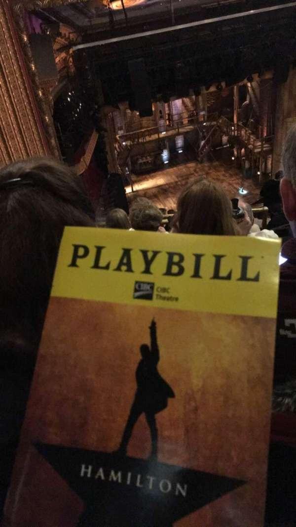 CIBC Theatre, vak: BALC-R, rij: M, stoel: 5