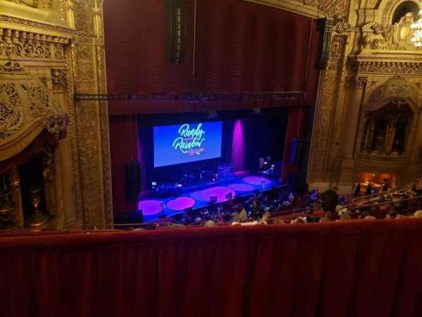 Chicago Theatre, vak: BALC1L, rij: G, stoel: 113