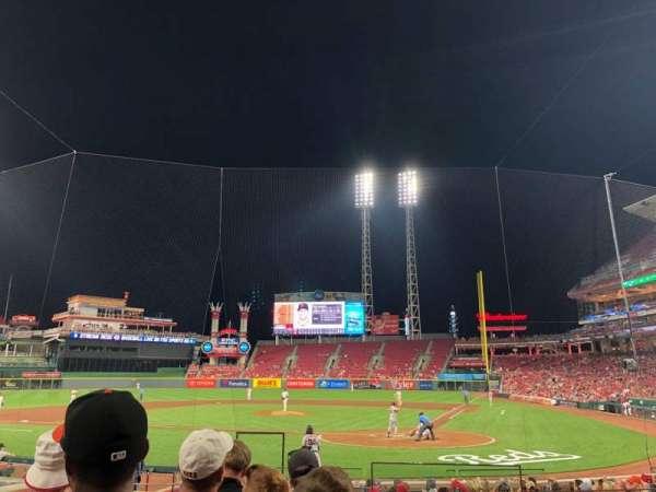 Great American Ball Park, vak: 120, rij: R, stoel: 1