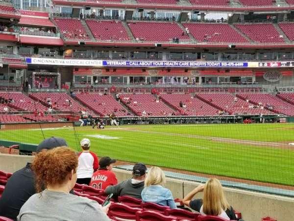 Great American Ball Park, vak: 133, rij: f, stoel: 15