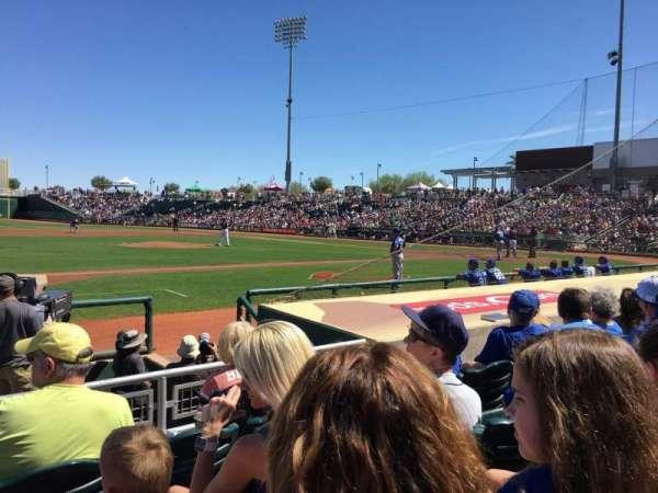 Goodyear Ballpark, vak: 107, rij: H, stoel: 16