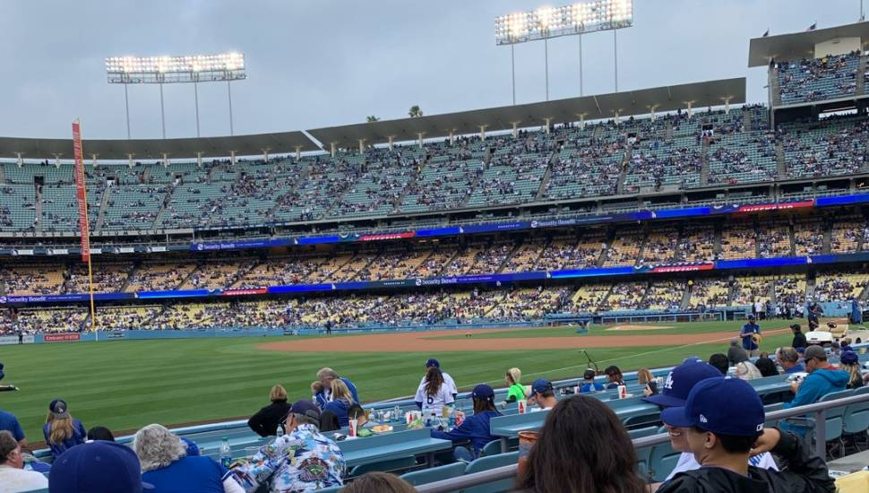 Dodger Stadium,  Vak <strong>218</strong>, Rij <strong>A</strong>, Stoel <strong>1</strong>