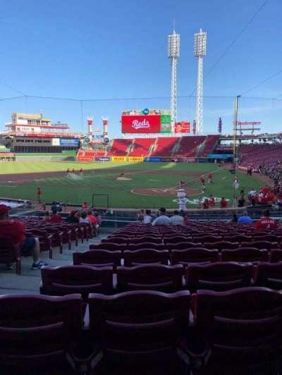 Great American Ball Park, vak: 121, rij: CV, stoel: 14