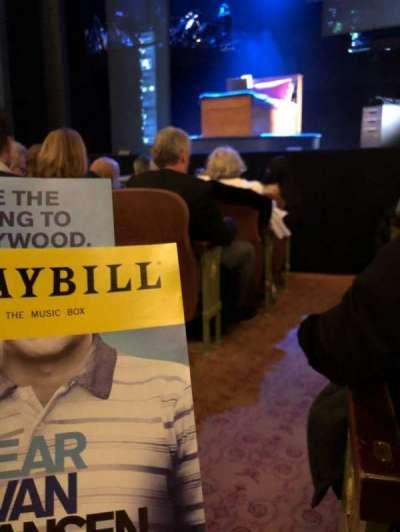 Music Box Theatre, vak: Orch, rij: F, stoel: 2