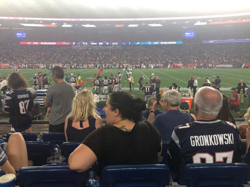 Gillette Stadium, vak: 108, rij: 5, stoel: 14