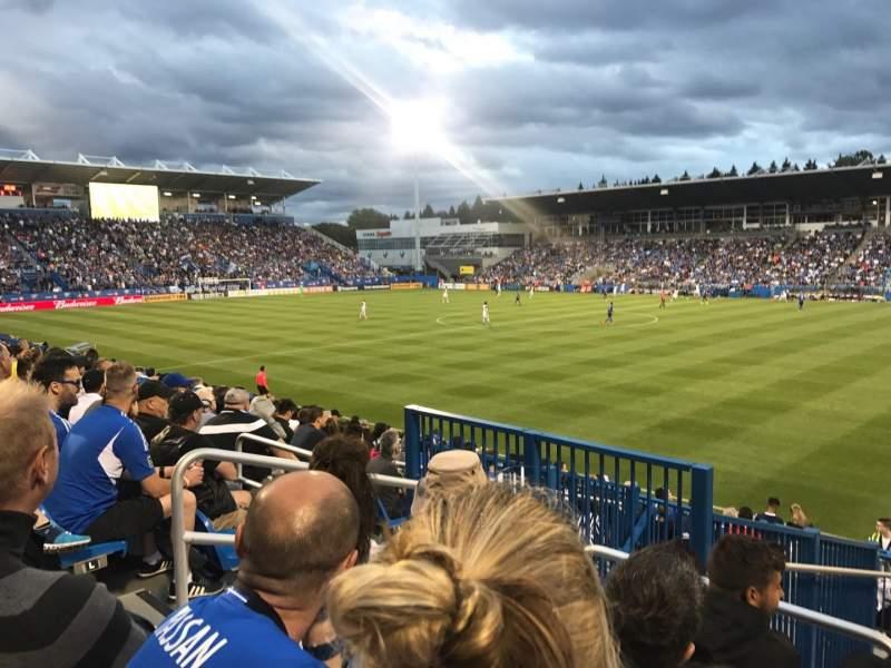 Uitzicht voor Stade Saputo Vak Sud Rij 120 Stoel N28